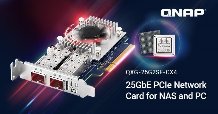 QNAP Introduces New 25GbE NIC for NAS and PC, Featuring Mellanox ConnectX-4 Lx SmartNIC with iSER Support